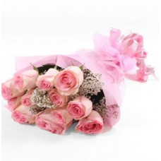 Dozen Pink Roses Bouquet